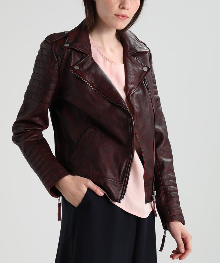 Biker / Motorcycle Jacket - Women Real Lambskin Leather Biker Jacket KW226 - Koza Leathers
