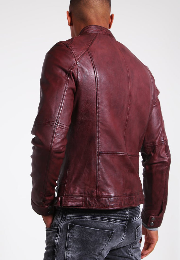 Biker Jacket - Men Real Lambskin Motorcycle Leather Biker Jacket KM270 - Koza Leathers
