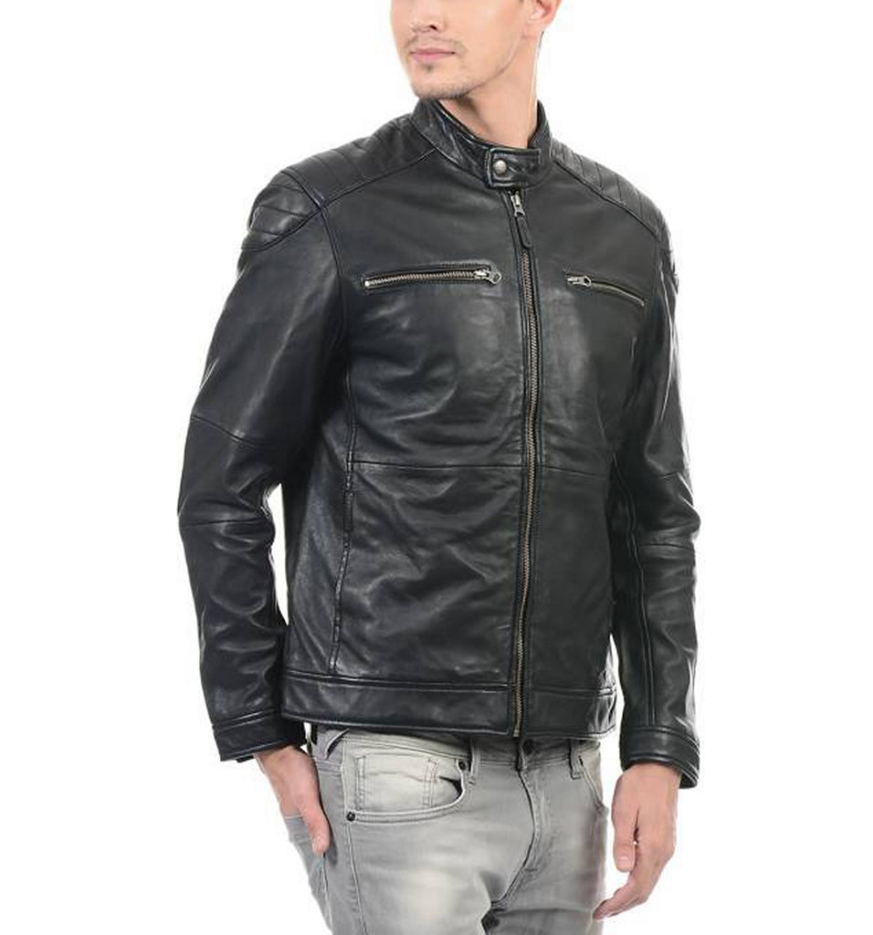 Biker Jacket - Men Real Lambskin Motorcycle Leather Biker Jacket KM418 - Koza Leathers