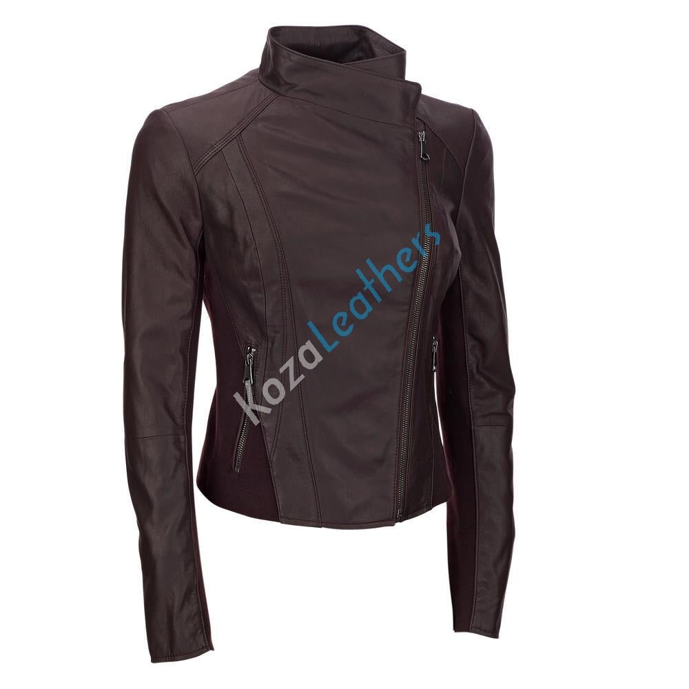 Women Real Lambskin Leather Biker Jacket KW130