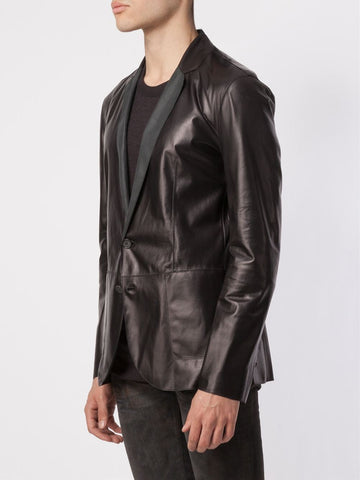 Leather Blazer - Men Real Sheepskin Leather Blazer KB007 - Koza Leathers