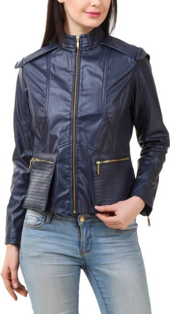 Biker / Motorcycle Jacket - Women Real Lambskin Leather Biker Jacket KW408 - Koza Leathers
