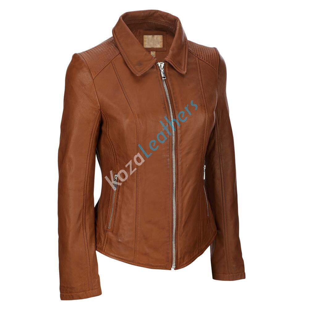 Biker / Motorcycle Jacket - Women Real Lambskin Leather Biker Jacket KW132 - Koza Leathers