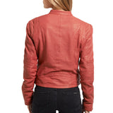 Biker / Motorcycle Jacket - Women Real Lambskin Leather Biker Jacket KW474 - Koza Leathers