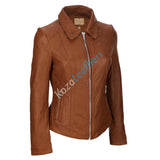 Women Real Lambskin Leather Biker Jacket KW132