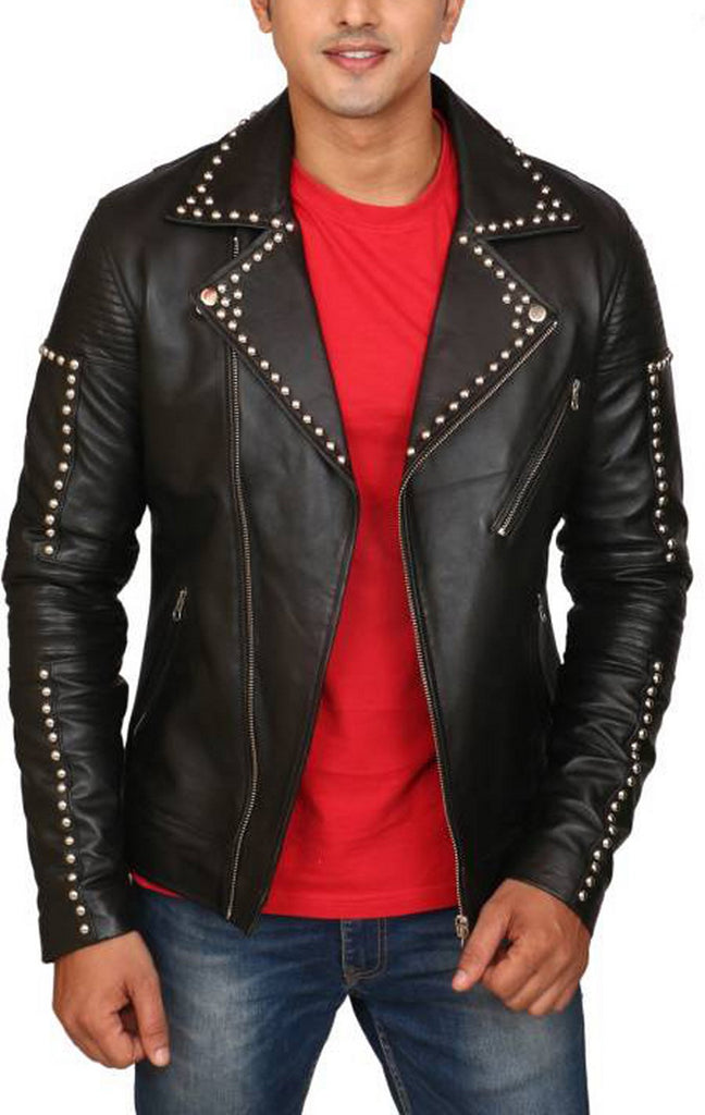 Biker Jacket - Men Real Lambskin Motorcycle Leather Biker Jacket KM422 - Koza Leathers