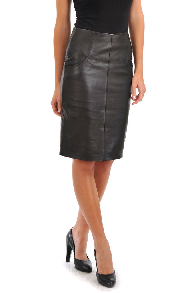 Knee Length Skirt - Women Real Lambskin Leather Slim Fit Skirt WS082 - Koza Leathers
