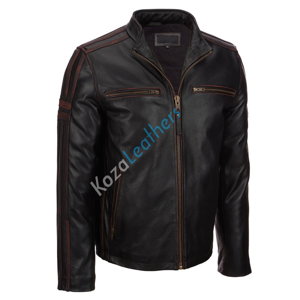 Biker Jacket - Men Real Lambskin Motorcycle Leather Biker Jacket KM176 - Koza Leathers
