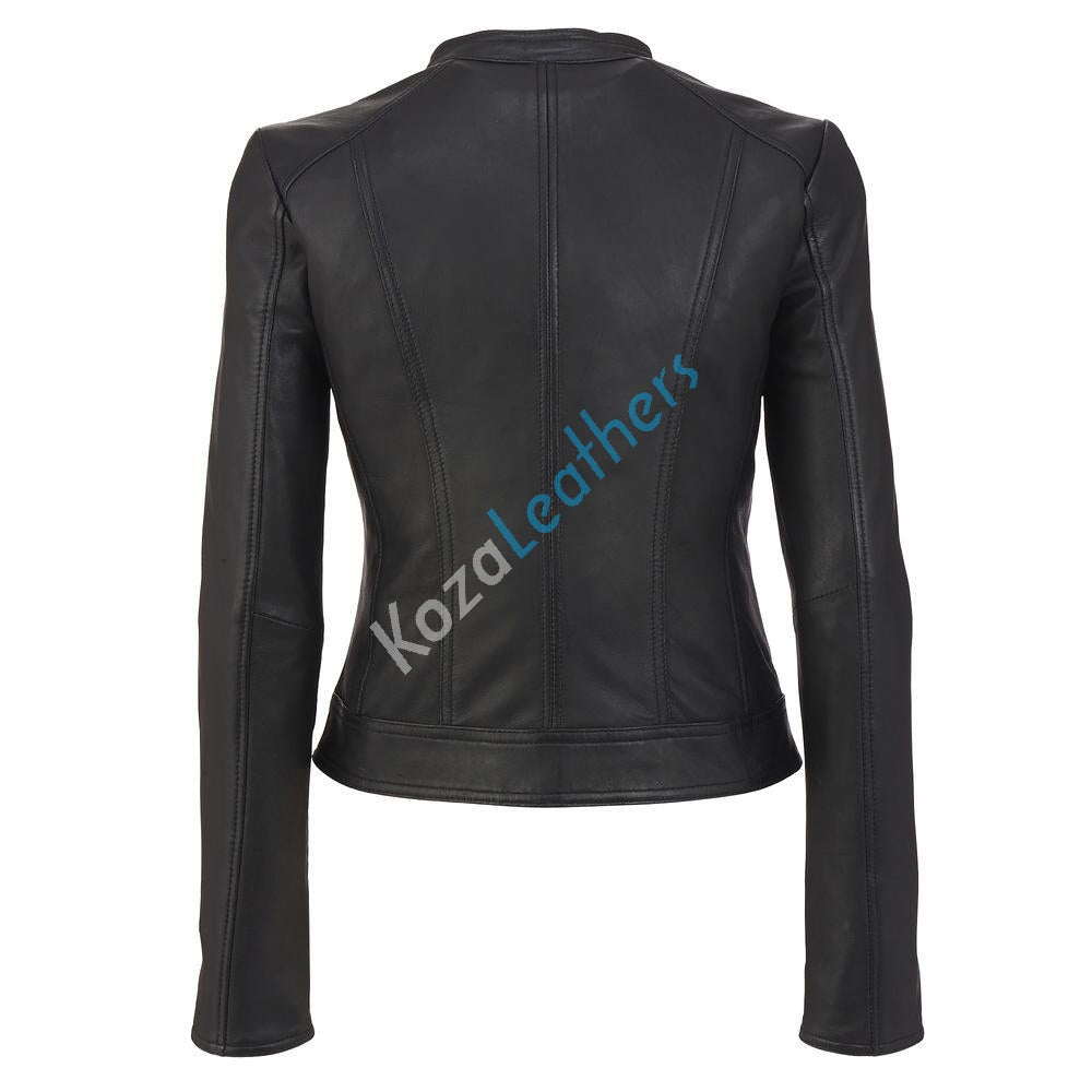 Biker / Motorcycle Jacket - Women Real Lambskin Leather Biker Jacket KW135 - Koza Leathers