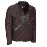Biker Jacket - Men Real Lambskin Motorcycle Leather Biker Jacket KM177 - Koza Leathers
