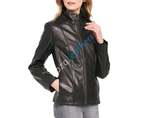 Women Real Lambskin Leather Biker Jacket KW098