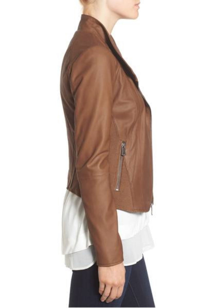 Biker / Motorcycle Jacket - Women Real Lambskin Leather Biker Jacket KW326 - Koza Leathers