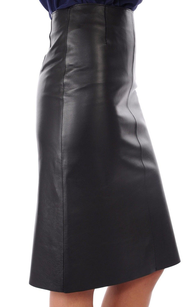Knee Length Skirt - Women Real Lambskin Leather Slim Fit Skirt WS084 - Koza Leathers