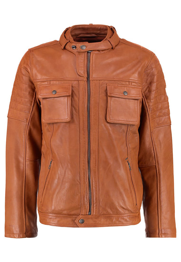 Biker Jacket - Men Real Lambskin Motorcycle Leather Biker Jacket KM278 - Koza Leathers