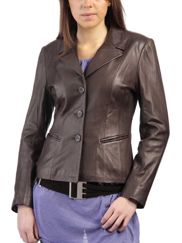 Koza Leathers Women's Real Lambskin Leather Blazer BW060
