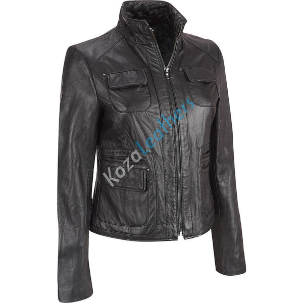 Women Real Lambskin Leather Biker Jacket KW137