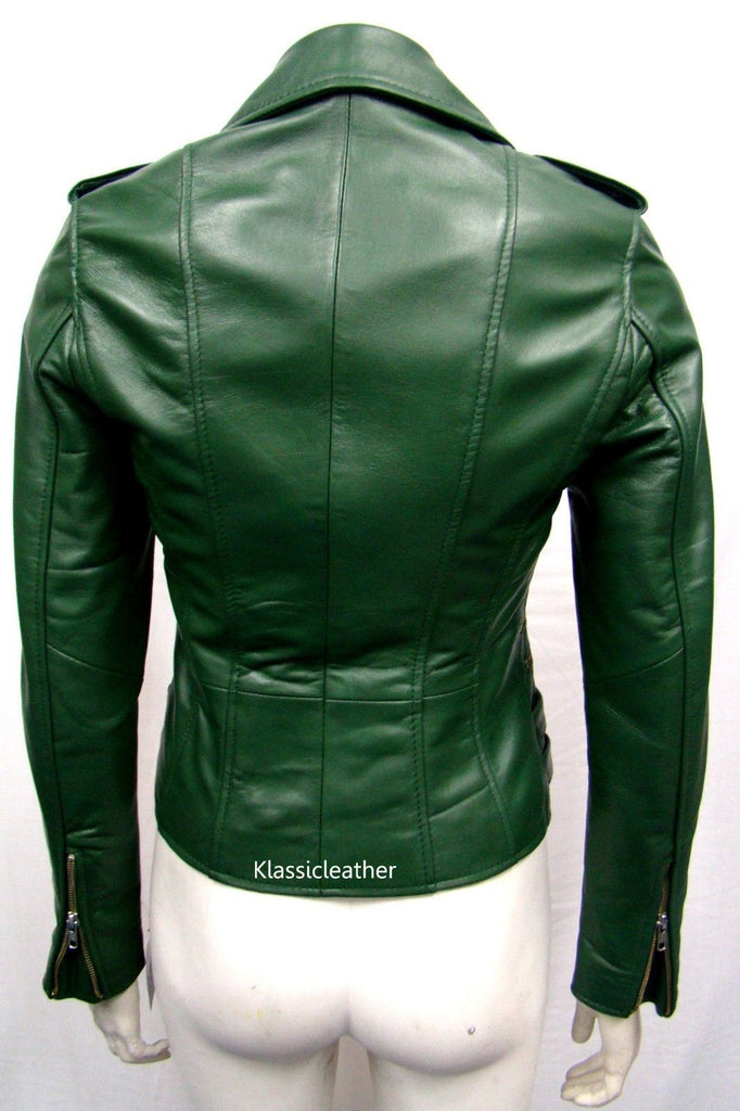 Biker / Motorcycle Jacket - Women Real Lambskin Leather Biker Jacket KW048 - Koza Leathers