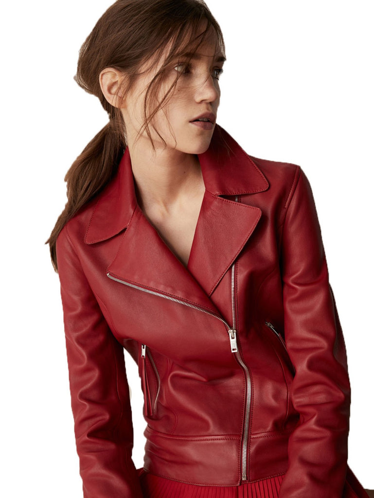 Biker / Motorcycle Jacket - Women Real Lambskin Leather Biker Jacket KW482 - Koza Leathers