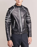 Biker Jacket - Men Real Lambskin Motorcycle Leather Biker Jacket KM281 - Koza Leathers