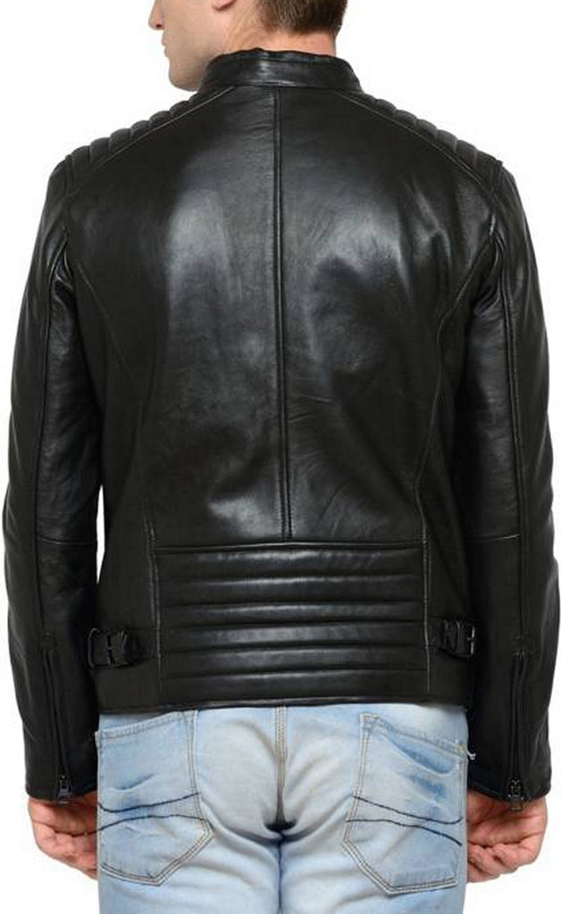 Biker Jacket - Men Real Lambskin Motorcycle Leather Biker Jacket KM429 - Koza Leathers