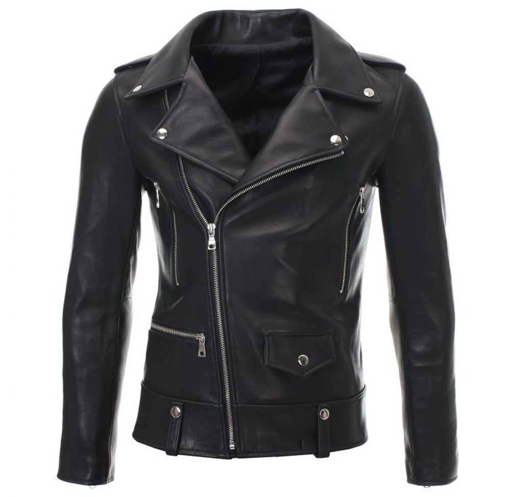 Women Real Lambskin Leather Biker Jacket KW049