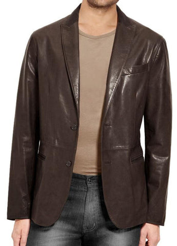 Leather Blazer - Men Real Sheepskin Leather Blazer KB008 - Koza Leathers