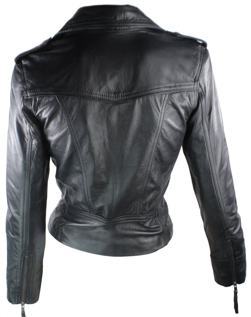 Biker / Motorcycle Jacket - Women Real Lambskin Leather Biker Jacket KW050 - Koza Leathers