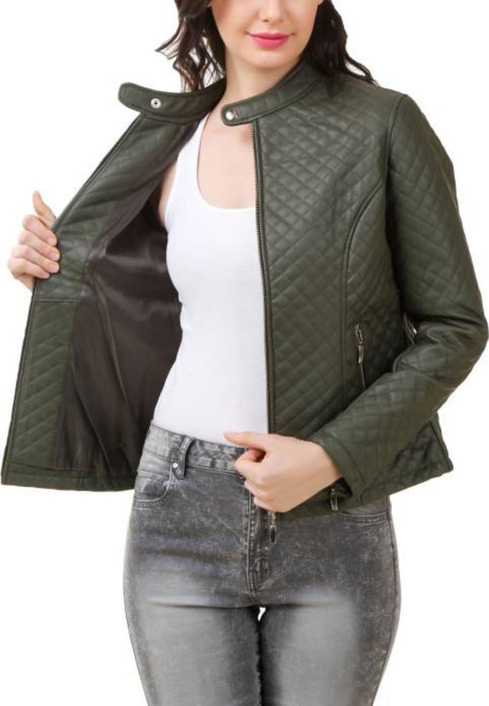 Biker / Motorcycle Jacket - Women Real Lambskin Leather Biker Jacket KW413 - Koza Leathers
