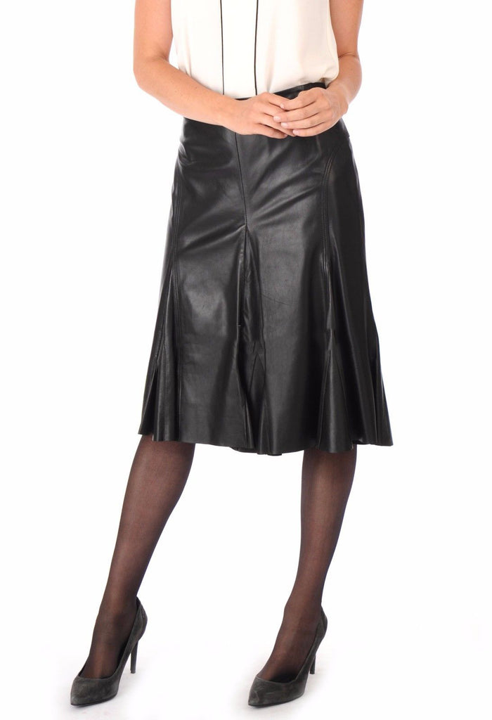 Knee Length Skirt - Women Real Lambskin Leather Slim Fit Skirt WS087 - Koza Leathers