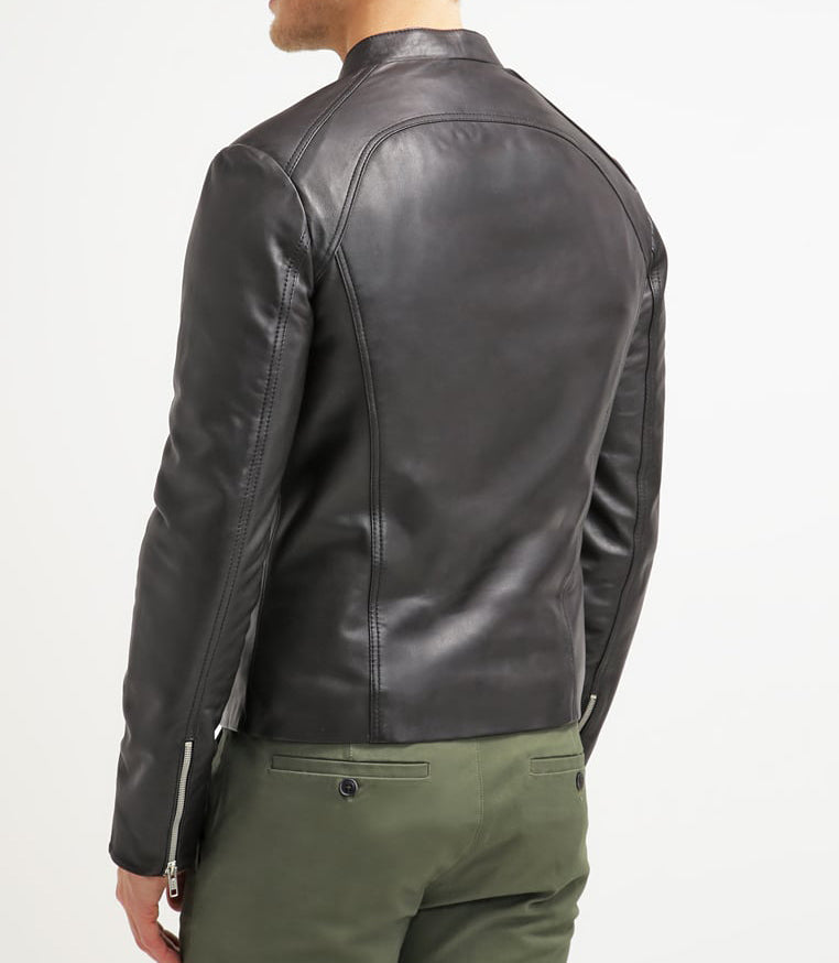 Biker Jacket - Men Real Lambskin Motorcycle Leather Biker Jacket KM283 - Koza Leathers