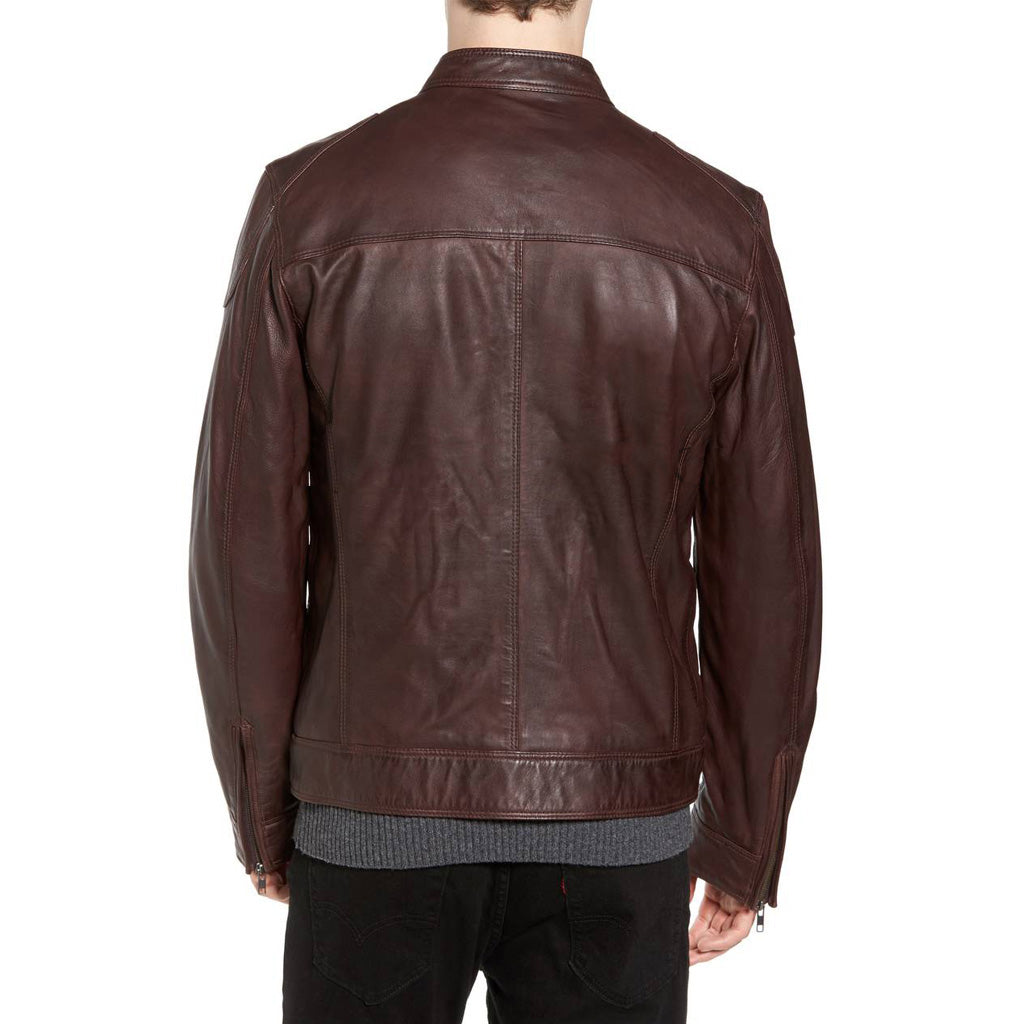 Biker Jacket - Men Real Lambskin Motorcycle Leather Biker Jacket KM352 - Koza Leathers