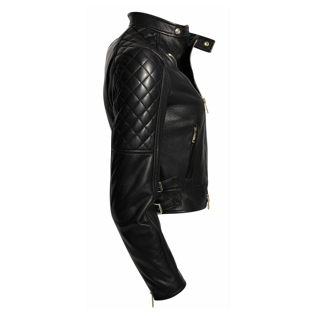 Women Real Lambskin Leather Biker Jacket KW052