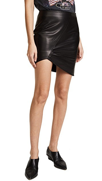 Knee Length Skirt - Women Real Lambskin Leather Slim Fit Skirt WS089 - Koza Leathers