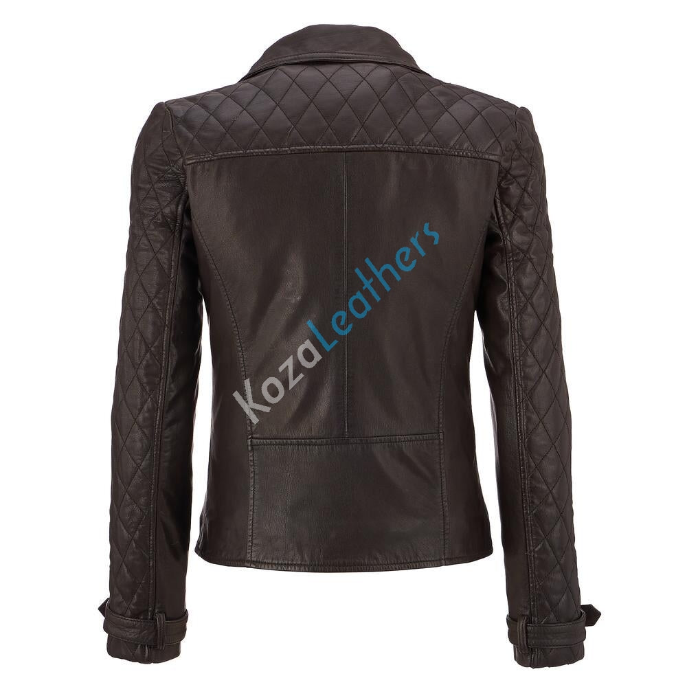Biker / Motorcycle Jacket - Women Real Lambskin Leather Biker Jacket KW141 - Koza Leathers