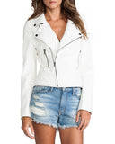 Women Real Lambskin Leather Biker Jacket KW053