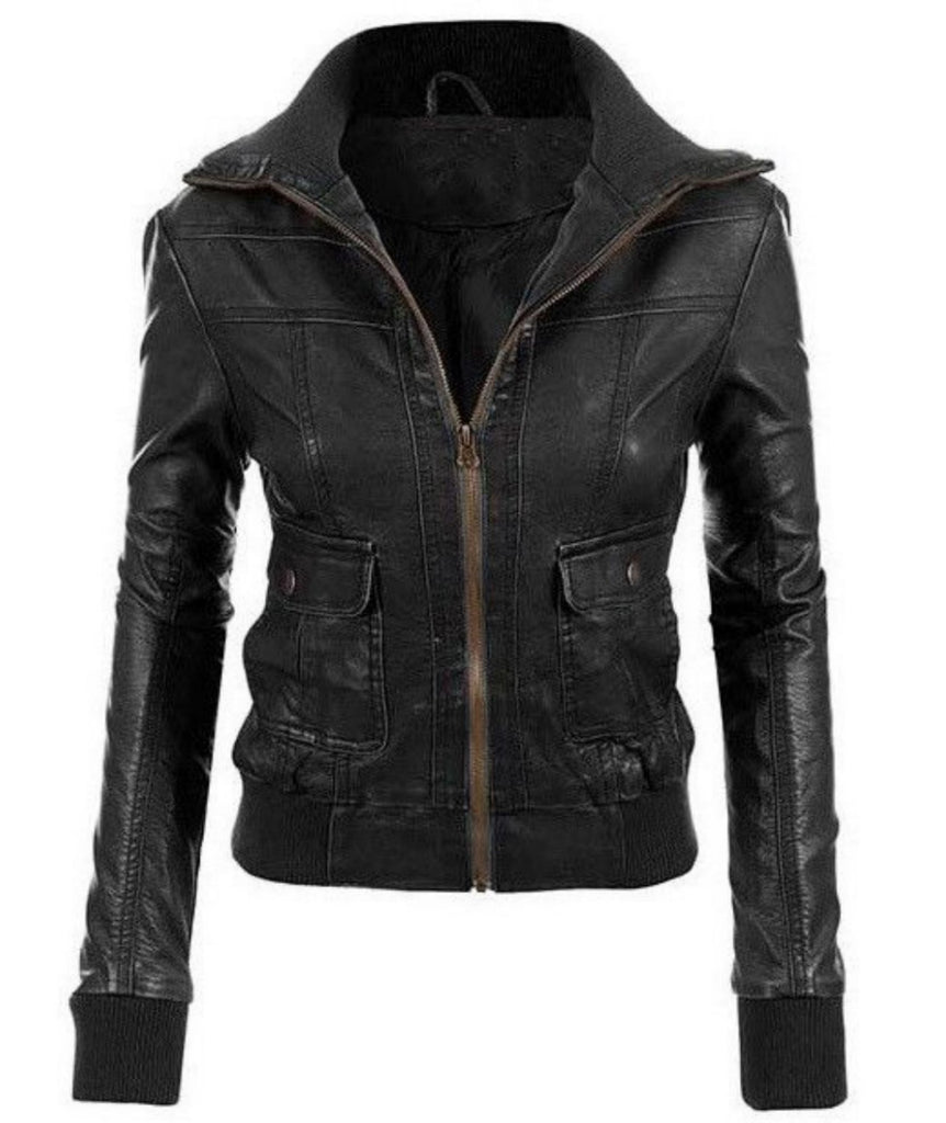Biker / Motorcycle Jacket - Women Real Lambskin Leather Biker Jacket KW486 - Koza Leathers