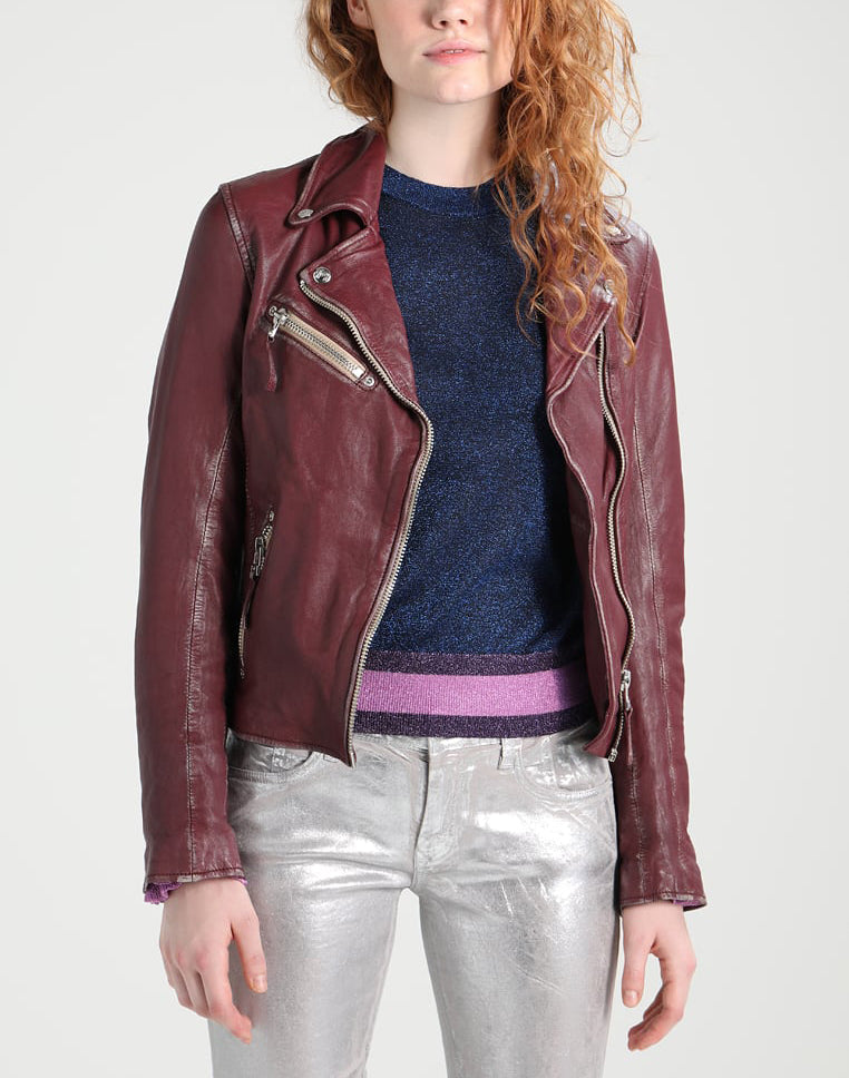 Biker / Motorcycle Jacket - Women Real Lambskin Leather Biker Jacket KW240 - Koza Leathers