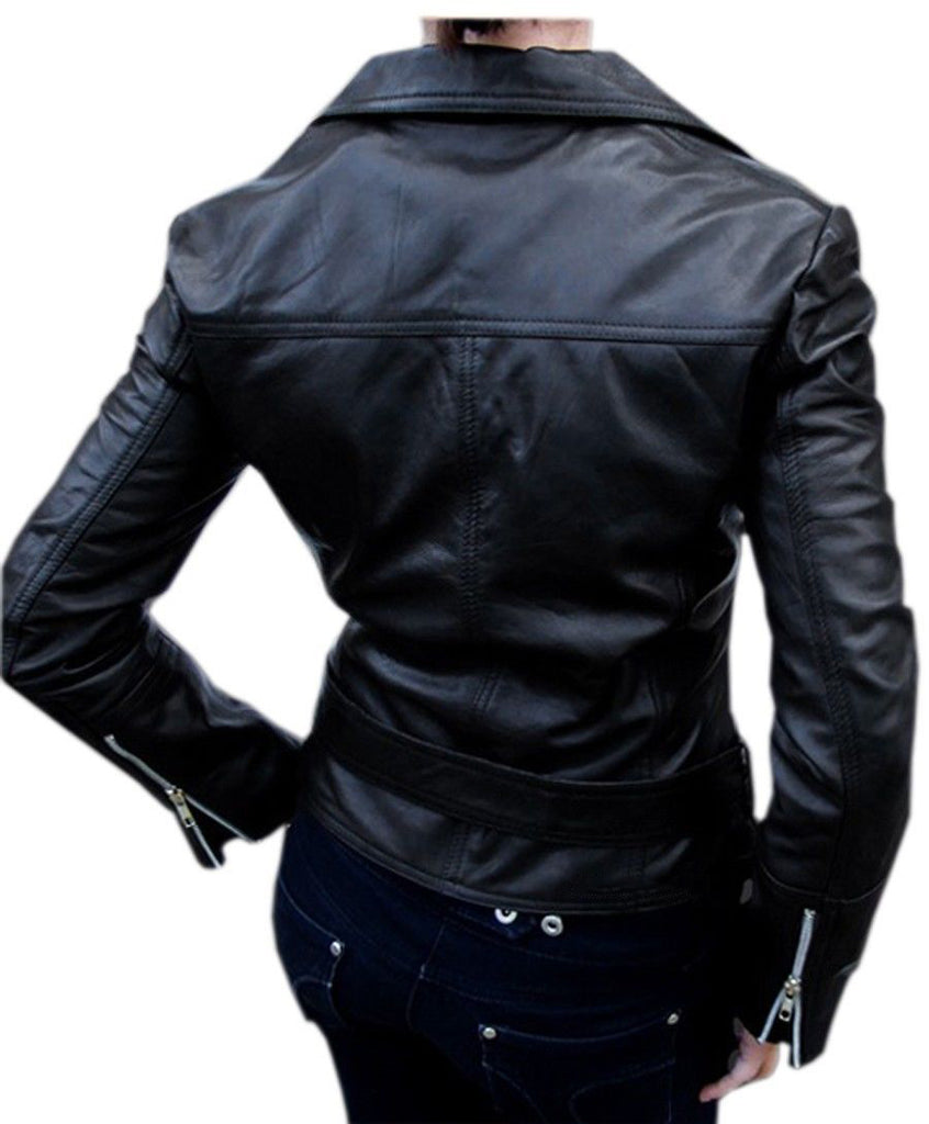 Women Real Lambskin Leather Biker Jacket KW054