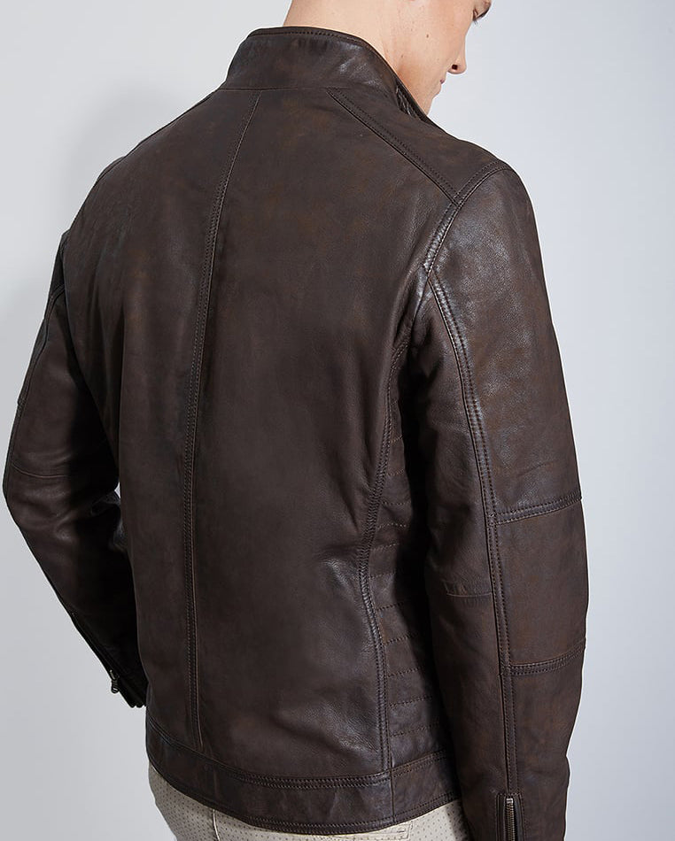 Biker Jacket - Men Real Lambskin Motorcycle Leather Biker Jacket KM286 - Koza Leathers