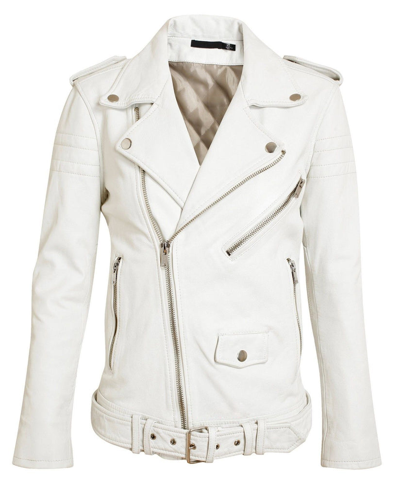 Biker / Motorcycle Jacket - Women Real Lambskin Leather Biker Jacket KW057 - Koza Leathers