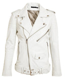 Women Real Lambskin Leather Biker Jacket KW057