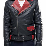 Biker Jacket - Men Real Lambskin Motorcycle Leather Biker Jacket KM312 - Koza Leathers