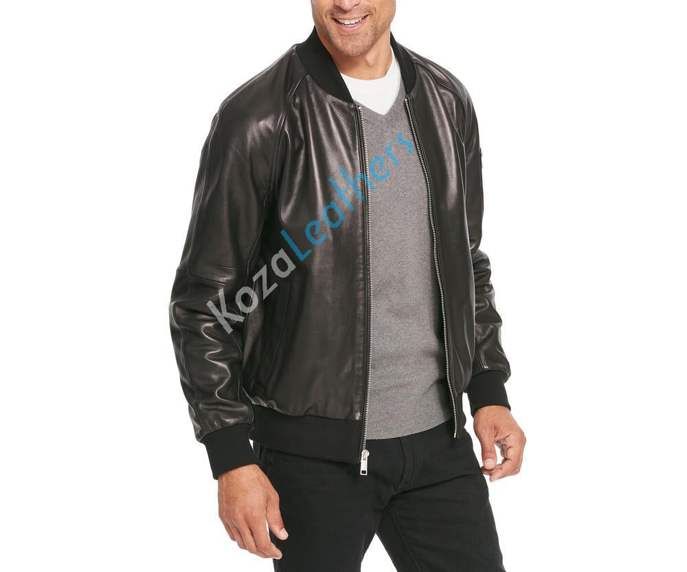 Koza Leathers Men's Genuine Lambskin Bomber Leather Jacket NJ008