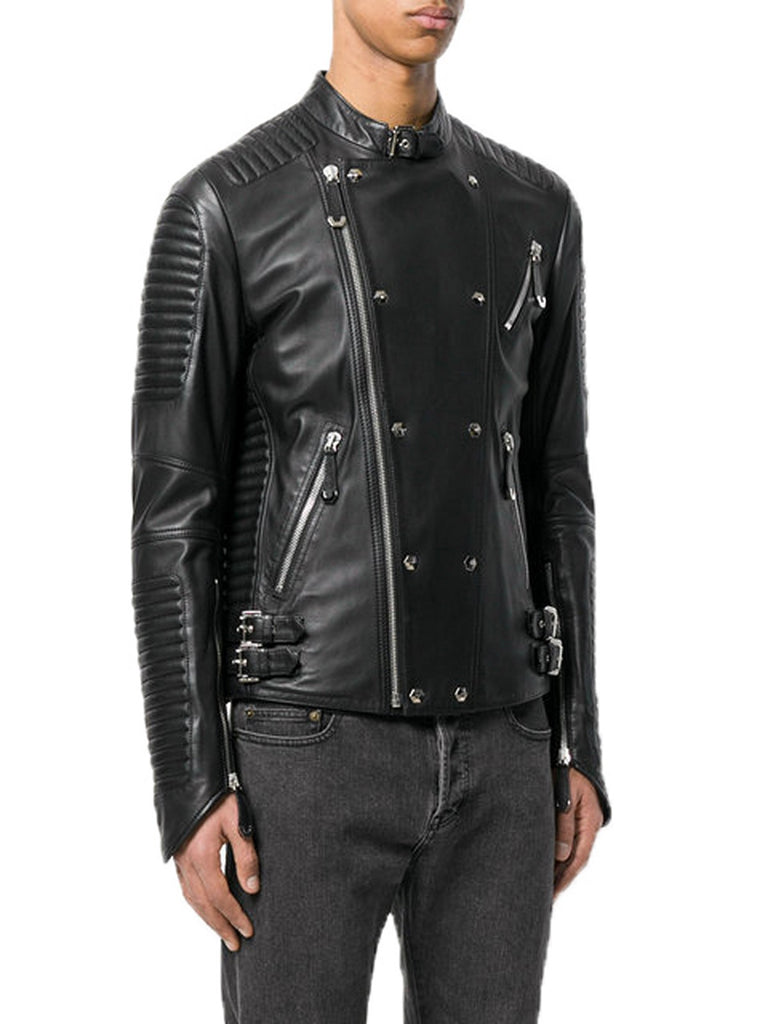 Biker Jacket - Men Real Lambskin Motorcycle Leather Biker Jacket KM361 - Koza Leathers