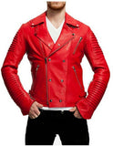 Biker Jacket - Men Real Lambskin Motorcycle Leather Biker Jacket KM436 - Koza Leathers