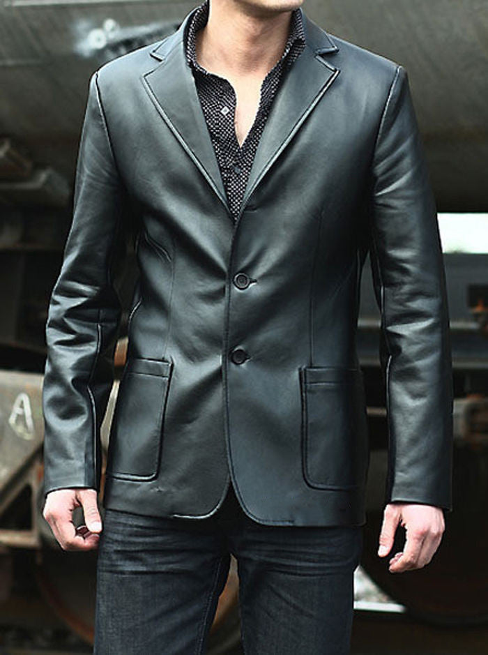 Leather Blazer - Men Real Sheepskin Leather Blazer KB009 - Koza Leathers