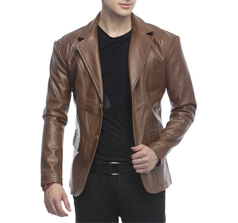 Leather Blazer - Men Real Sheepskin Leather Blazer KB010 - Koza Leathers