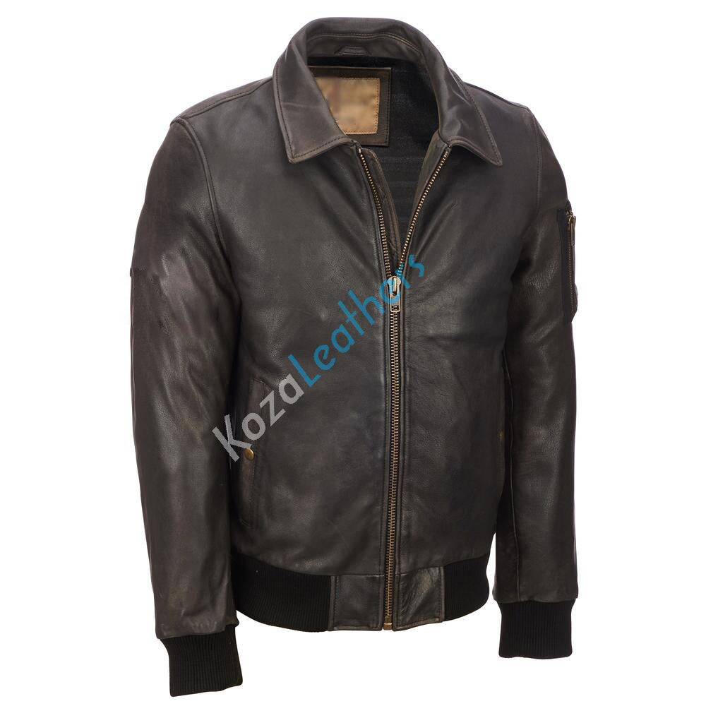 Biker Jacket - Men Real Lambskin Motorcycle Leather Biker Jacket KM185 - Koza Leathers