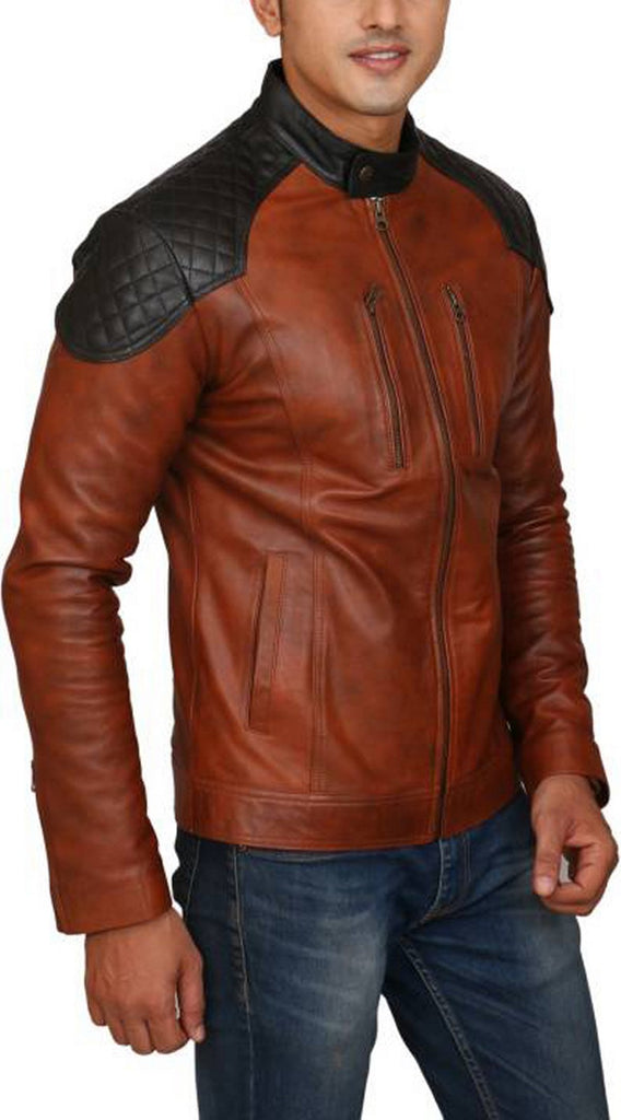 Biker Jacket - Men Real Lambskin Motorcycle Leather Biker Jacket KM437 - Koza Leathers