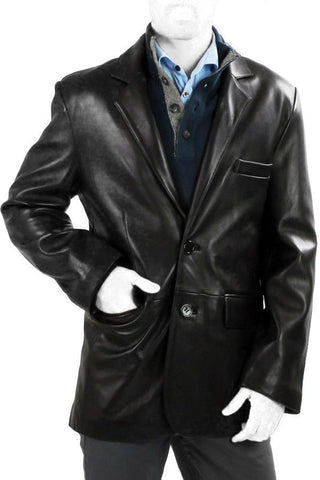 Leather Blazer - Men Real Sheepskin Leather Blazer KB011 - Koza Leathers